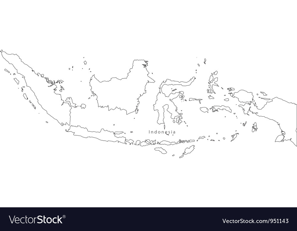 Black white indonesia outline map vector | Price: 1 Credit (USD $1)