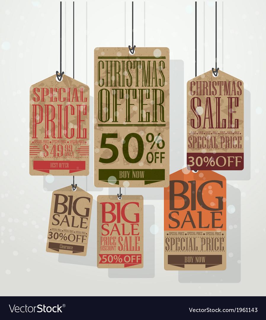 Christmas sale tags vector | Price: 1 Credit (USD $1)