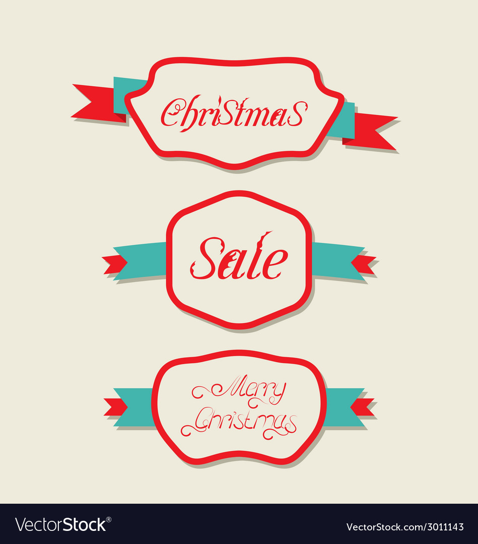 Christmas set variation vintage labels with text vector | Price: 1 Credit (USD $1)