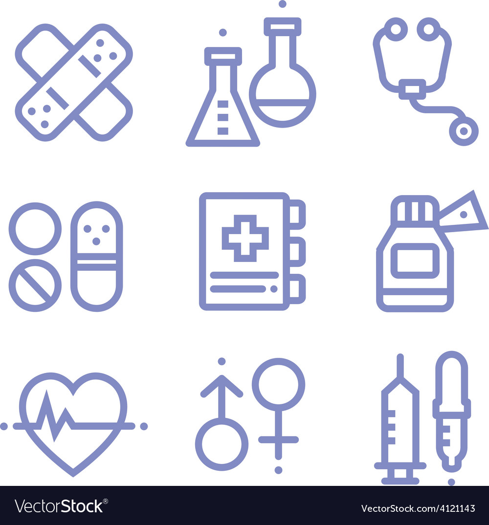Contour simple medical icons set vector | Price: 1 Credit (USD $1)