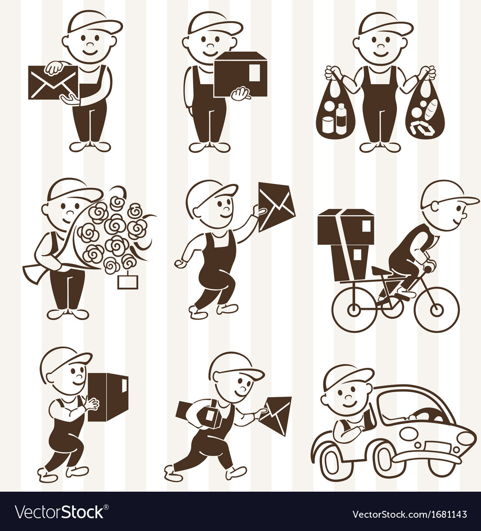 Courier with boxes and vehicles mono coloring icon vector | Price: 1 Credit (USD $1)