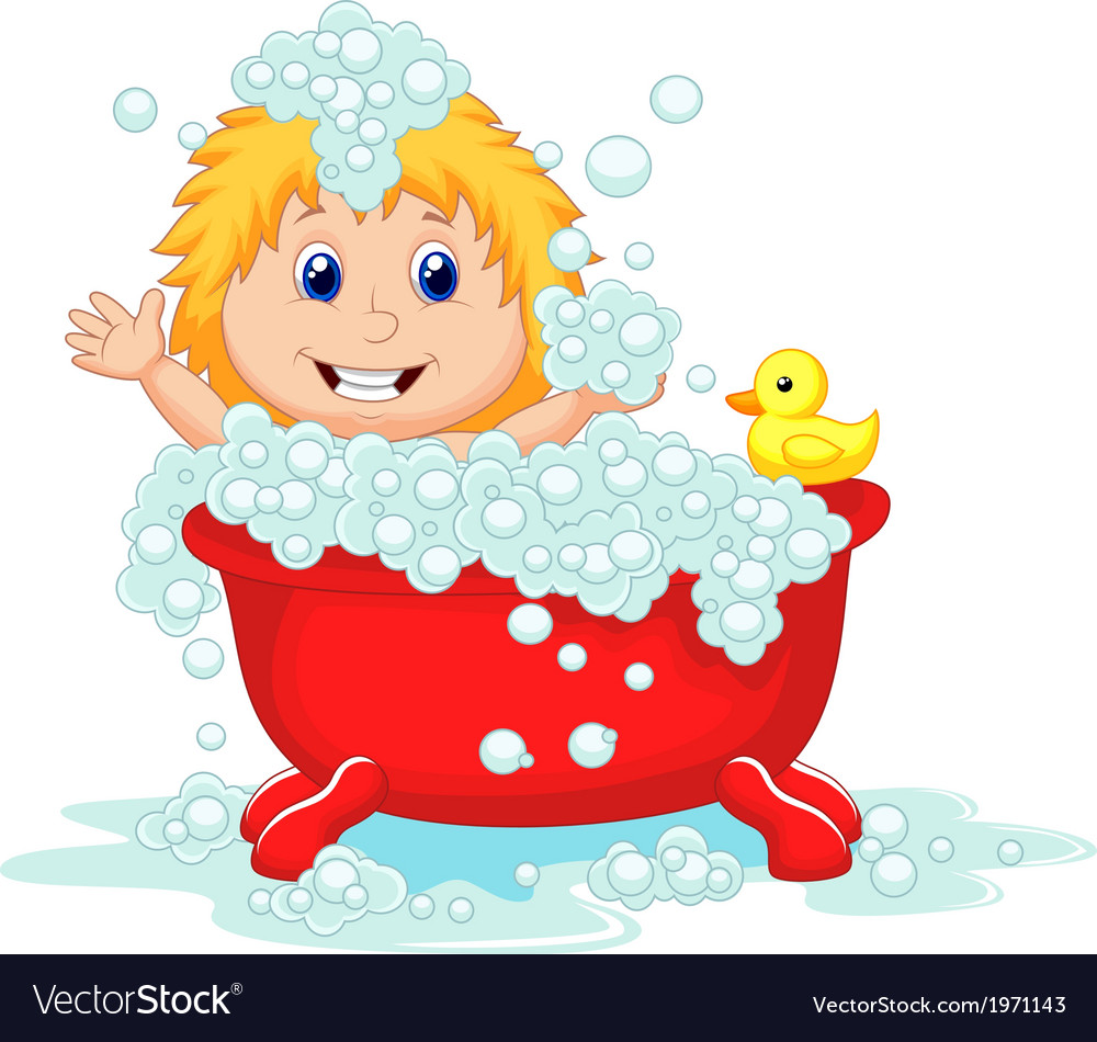 Girl cartoon bathing in the red bath tub vector | Price: 1 Credit (USD $1)