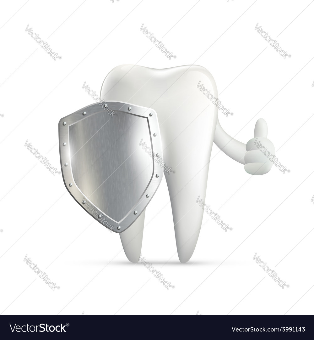 Human tooth holding metal shield vector | Price: 1 Credit (USD $1)