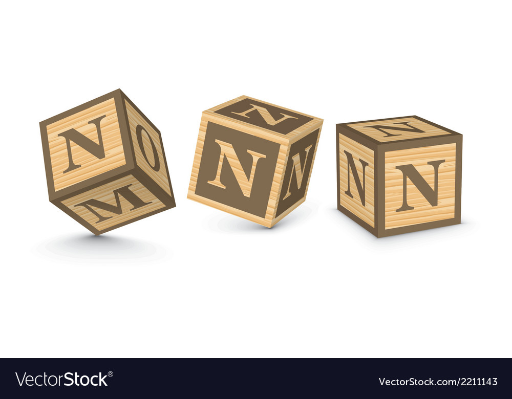 Letter n wooden alphabet blocks vector | Price: 1 Credit (USD $1)