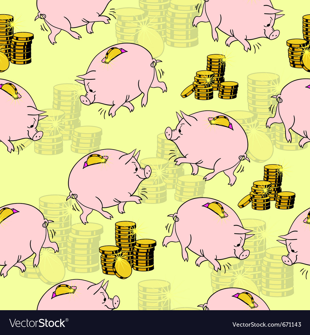Pig piggy bank gold coins seamless vector | Price: 1 Credit (USD $1)