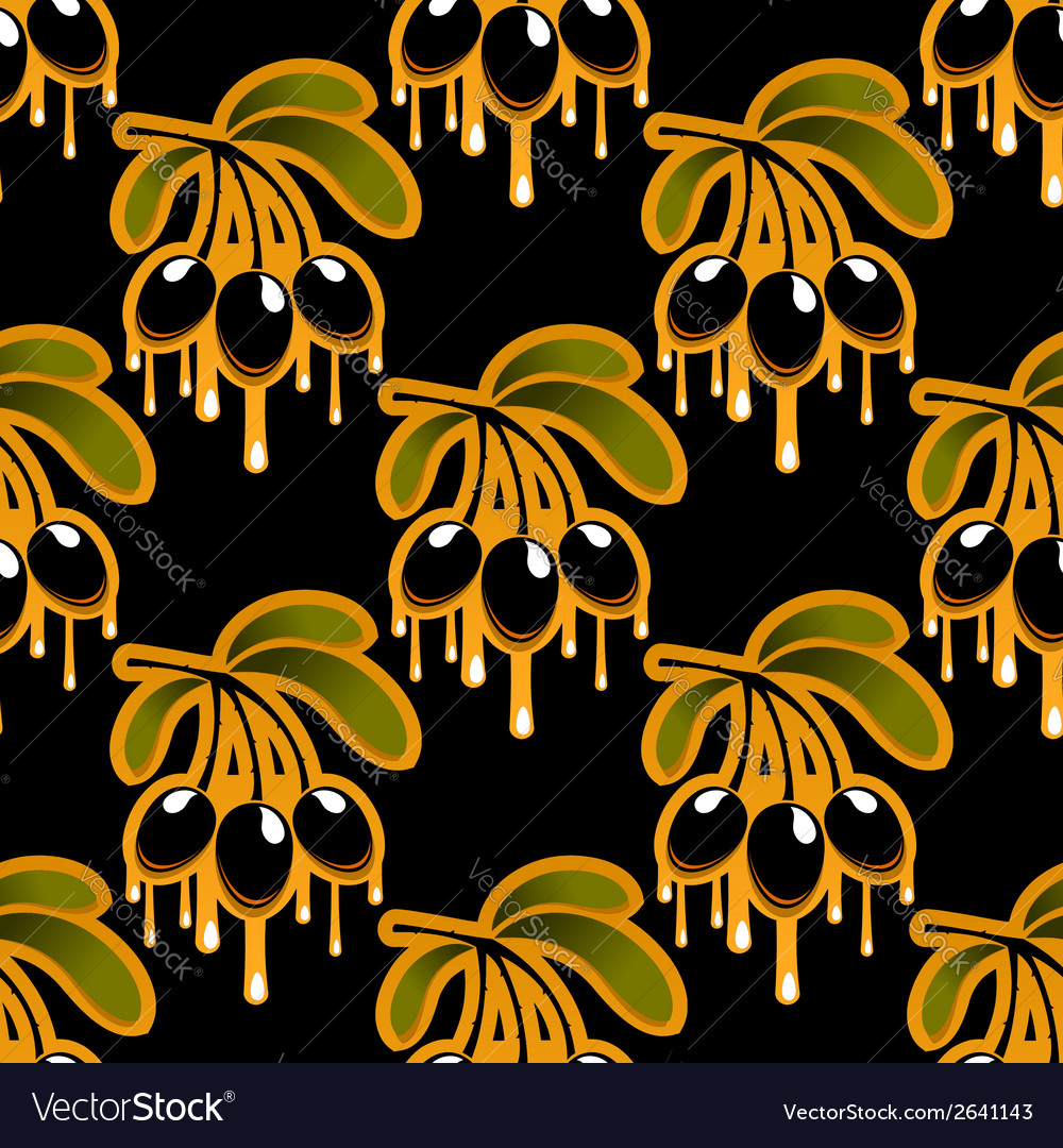 Seamless background pattern of olive oil dripping vector | Price: 1 Credit (USD $1)