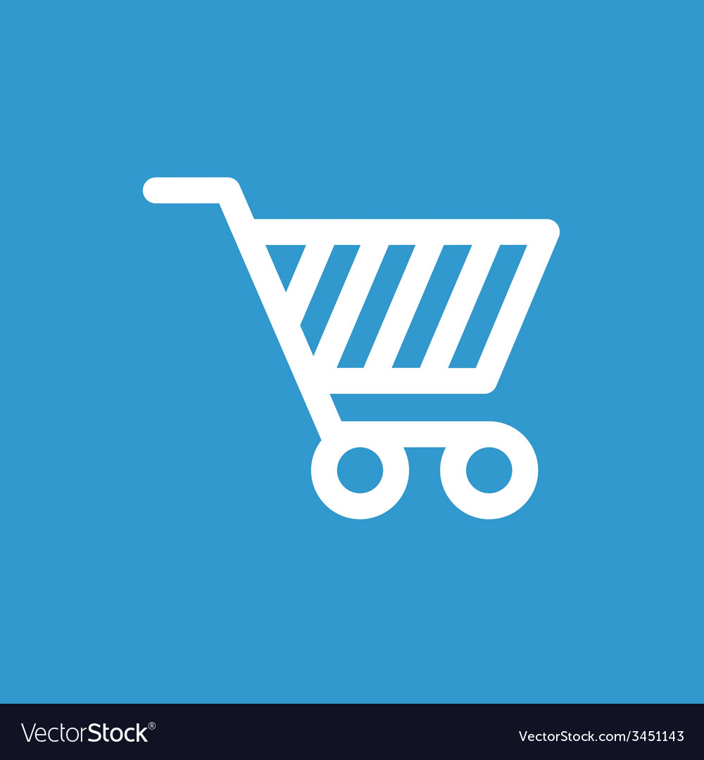 Shopping cart icon white on the blue background vector | Price: 1 Credit (USD $1)