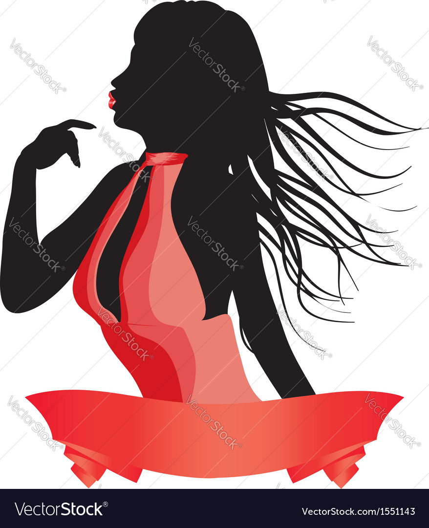 Silhouette of a girl in red vector   Price: 1 Credit (USD $1)