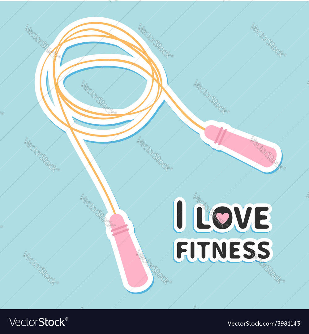 Skipping jumping rope i love fitness icon sport vector | Price: 1 Credit (USD $1)
