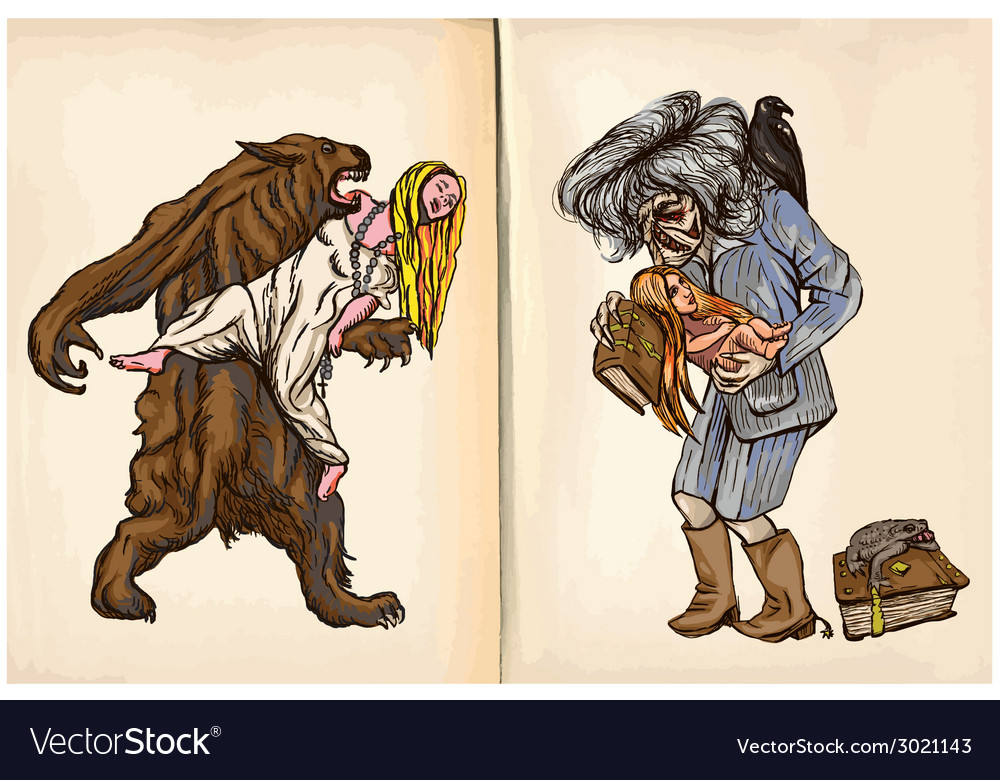 Werewolf and noon witch - an hand drawn vector   Price: 1 Credit (USD $1)