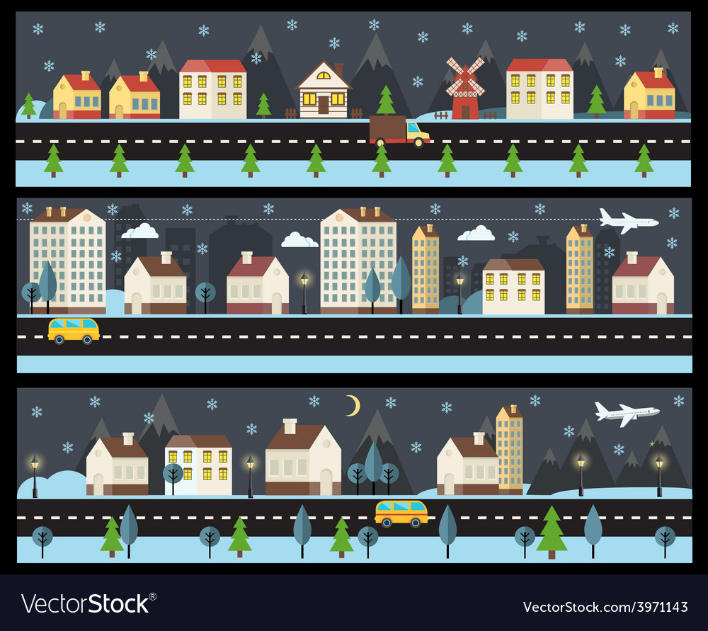 Winter cityscape in flat style vector | Price: 1 Credit (USD $1)
