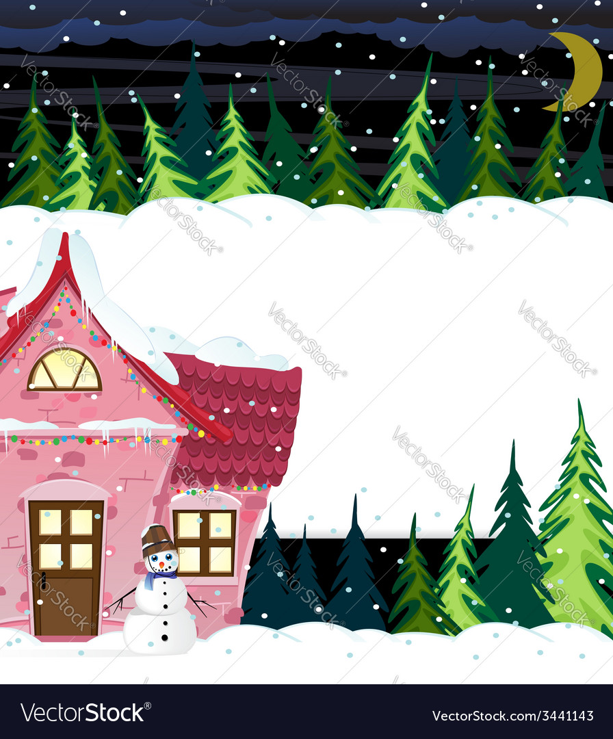 Winter house and smiling snowman vector | Price: 3 Credit (USD $3)