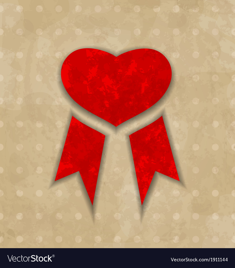 Award ribbon heart for valentines day vintage vector | Price: 1 Credit (USD $1)