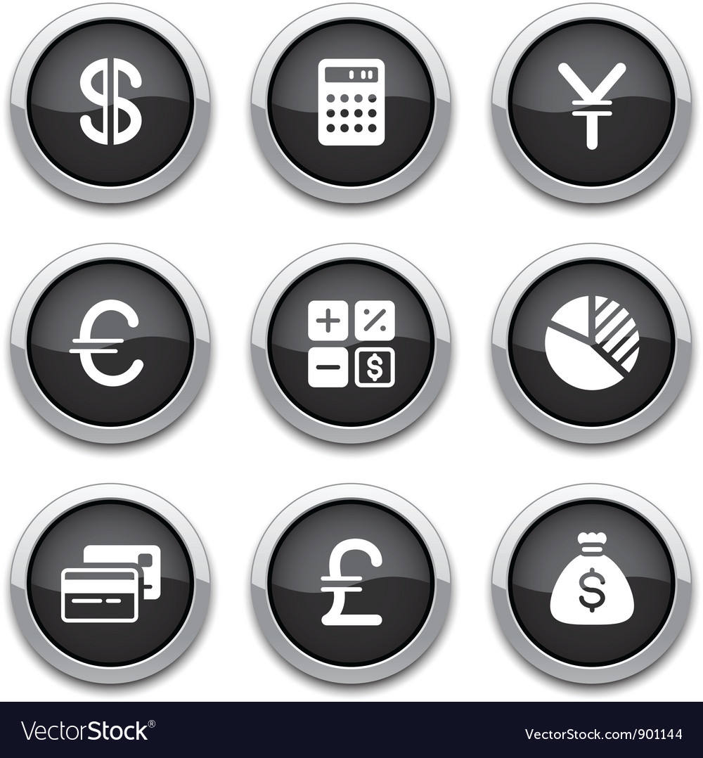 Black finance buttons vector | Price: 1 Credit (USD $1)