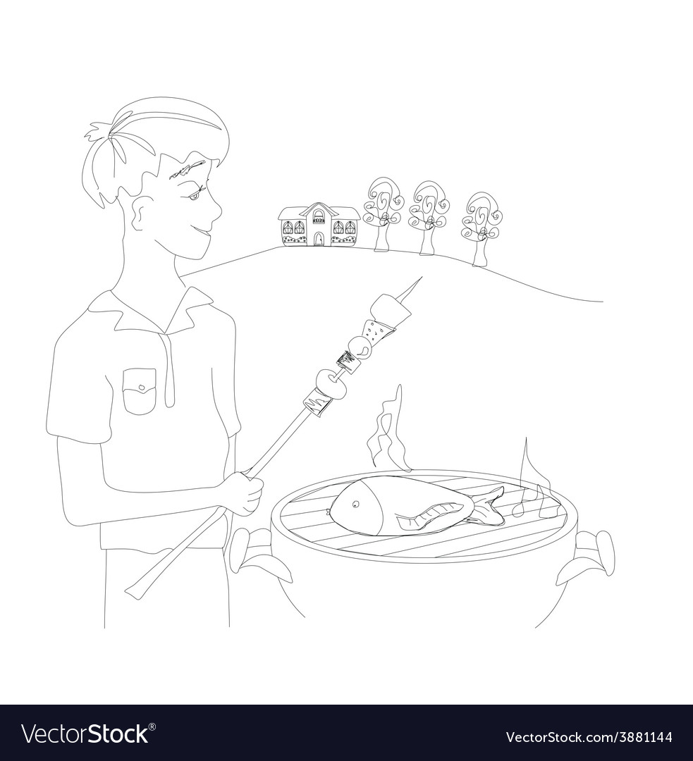 Boy barbecuing meat vector | Price: 1 Credit (USD $1)