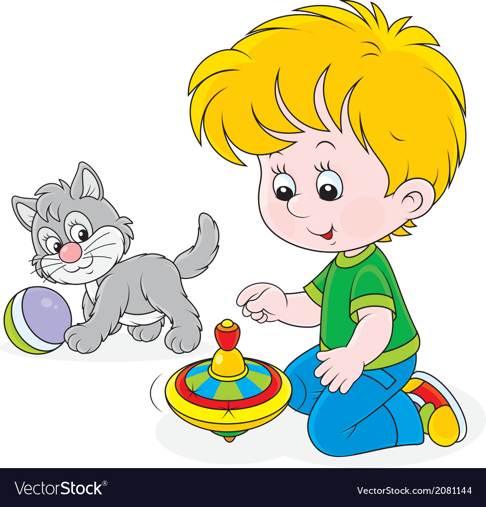 Boy plays with a whirligig and kitten vector | Price: 1 Credit (USD $1)
