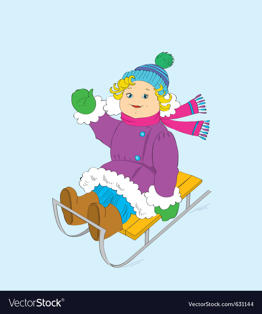Cheerful girl on a sledge vector | Price: 1 Credit (USD $1)