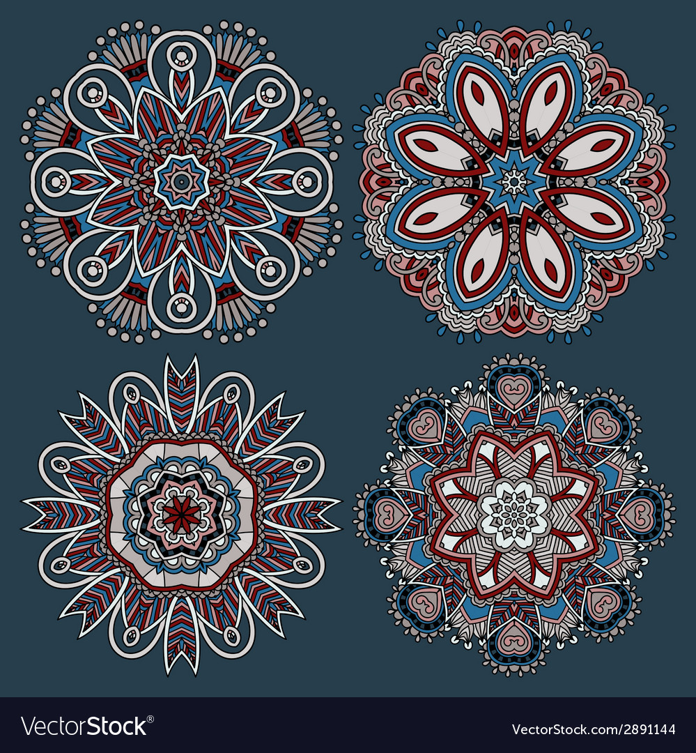 Circle ornament ornamental round lace collection vector | Price: 1 Credit (USD $1)