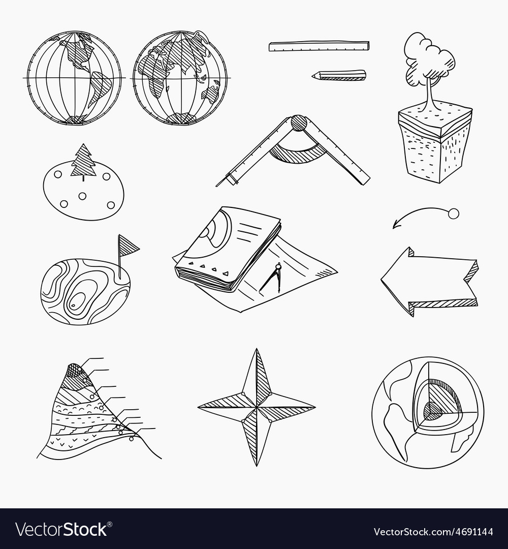 Geography lesson school objects and educational vector | Price: 1 Credit (USD $1)
