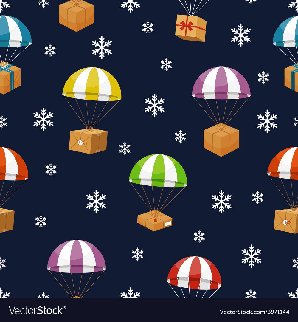 Gift delivery in winter sky with snowflakes vector | Price: 1 Credit (USD $1)