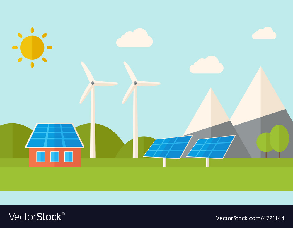 House with solar panels and wind mills vector | Price: 1 Credit (USD $1)