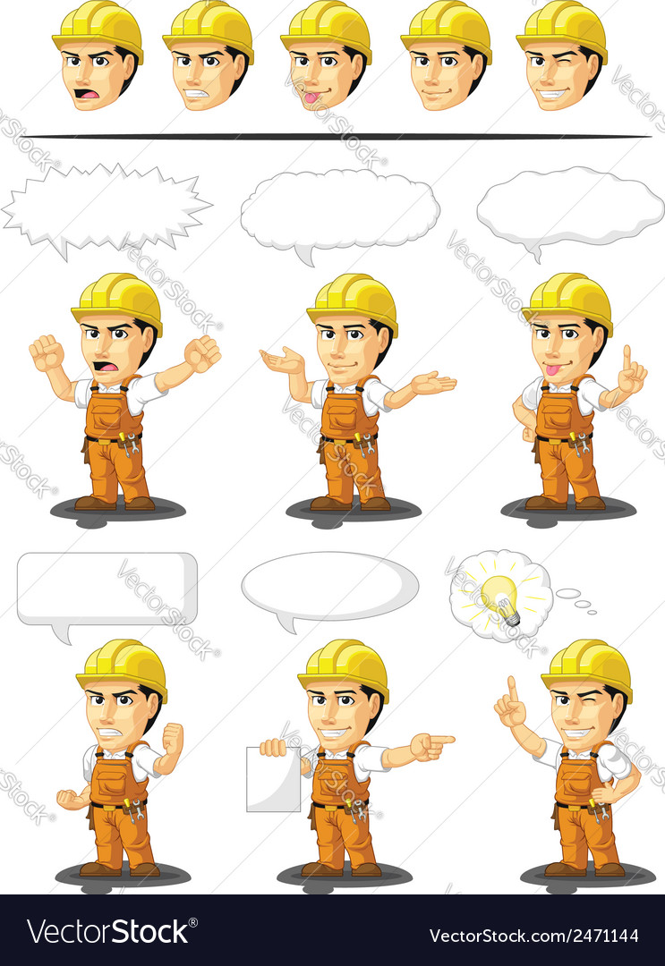 Industrial construction worker mascot 17 vector | Price: 1 Credit (USD $1)