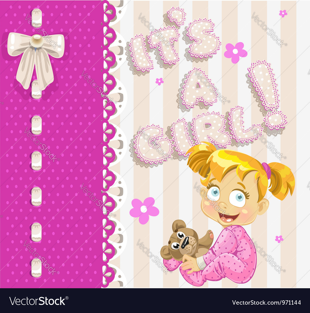 Its a girl openwork card for your announcement vector | Price: 3 Credit (USD $3)