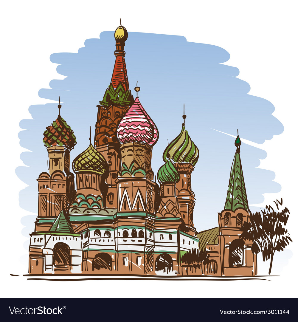 Moscow saint basils cathedral drawing vector | Price: 1 Credit (USD $1)