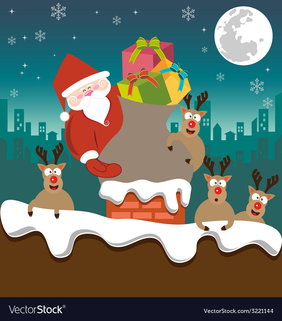 Santa claus and reindeer send gifts on chimney vector | Price: 1 Credit (USD $1)