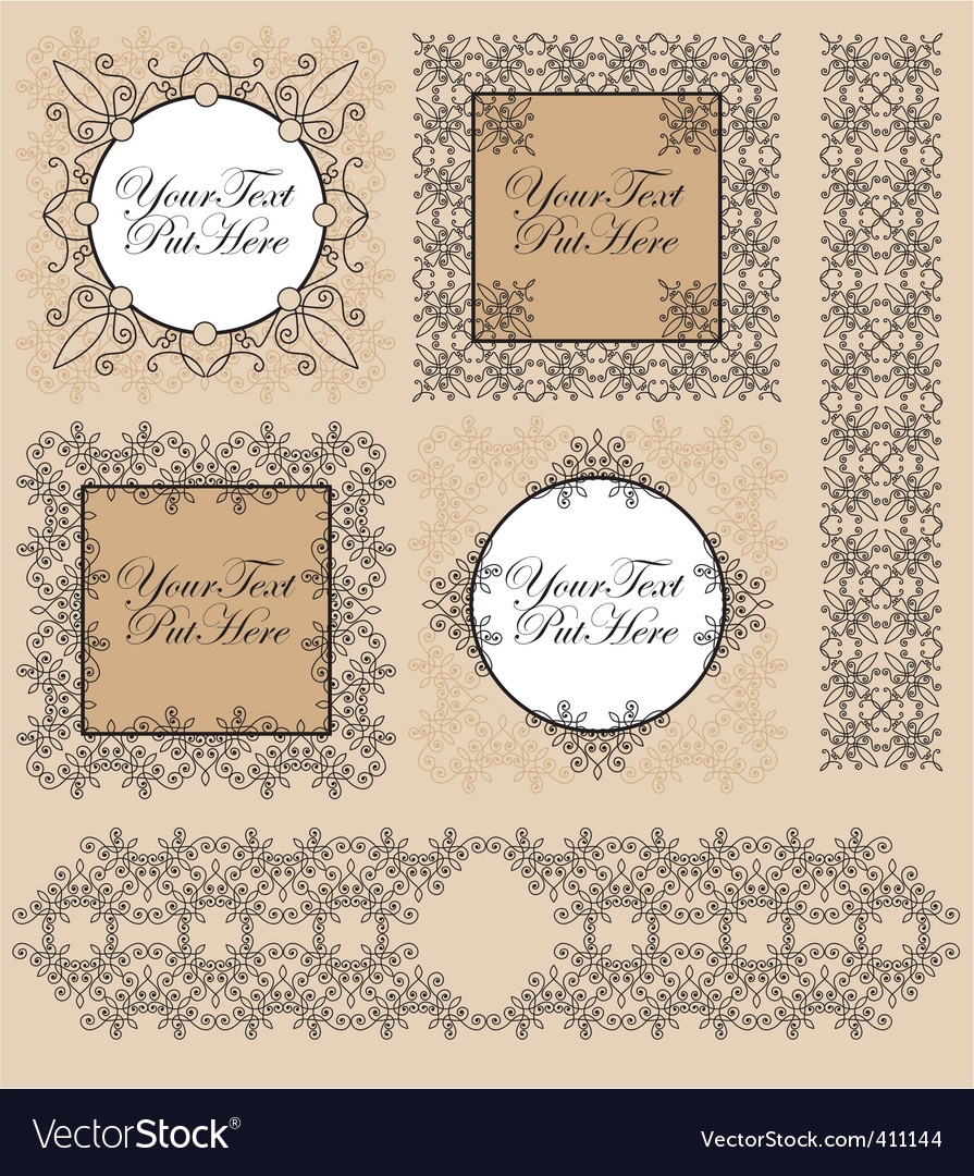 Set victorian frames and border vector | Price: 1 Credit (USD $1)