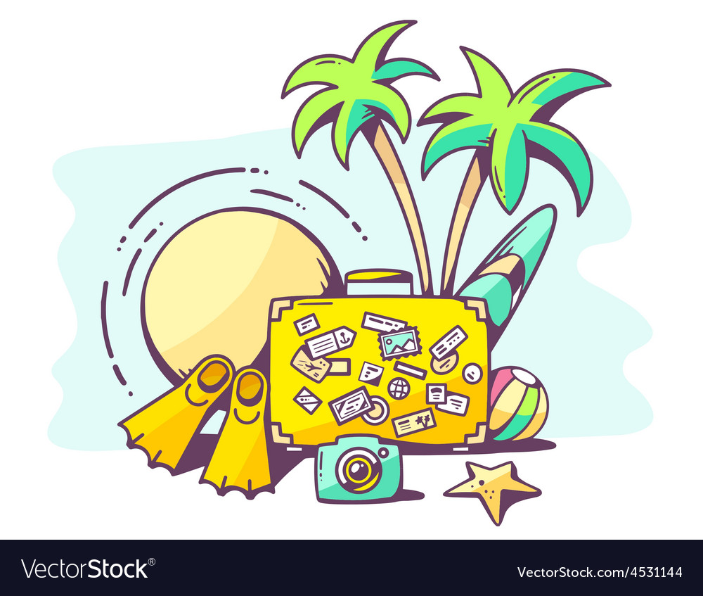 Summer holiday on blue background vector | Price: 1 Credit (USD $1)