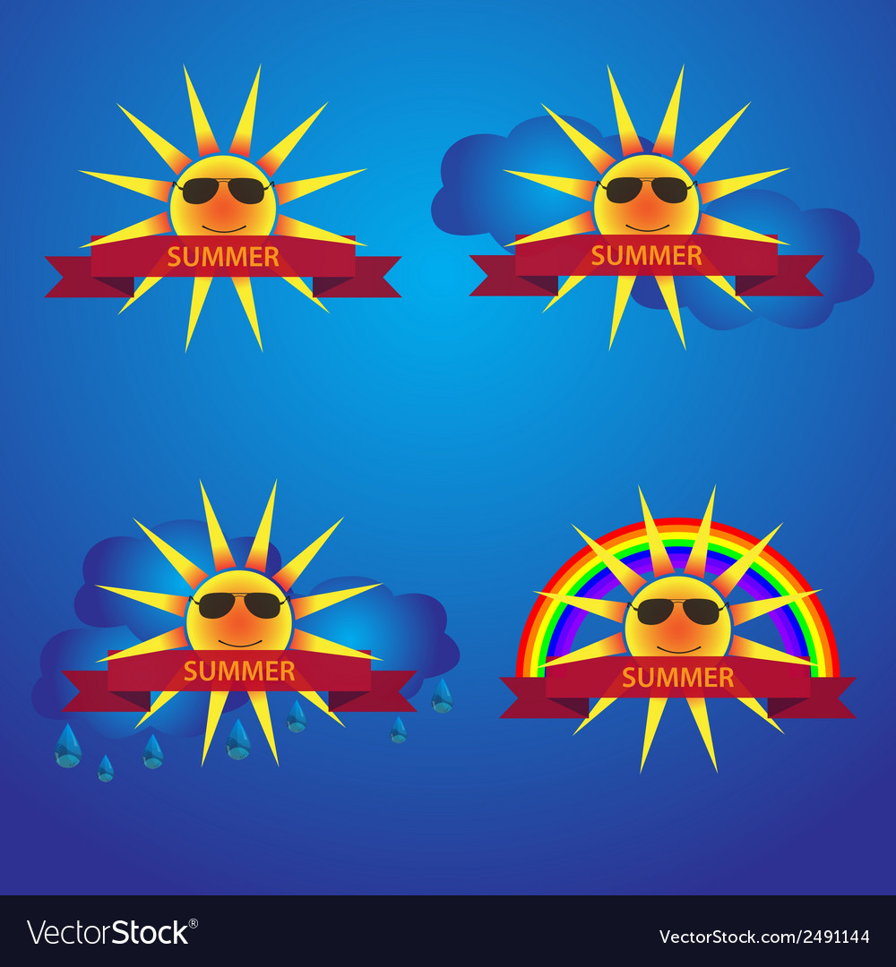 Summer sun icons with banner eps10 vector | Price: 1 Credit (USD $1)