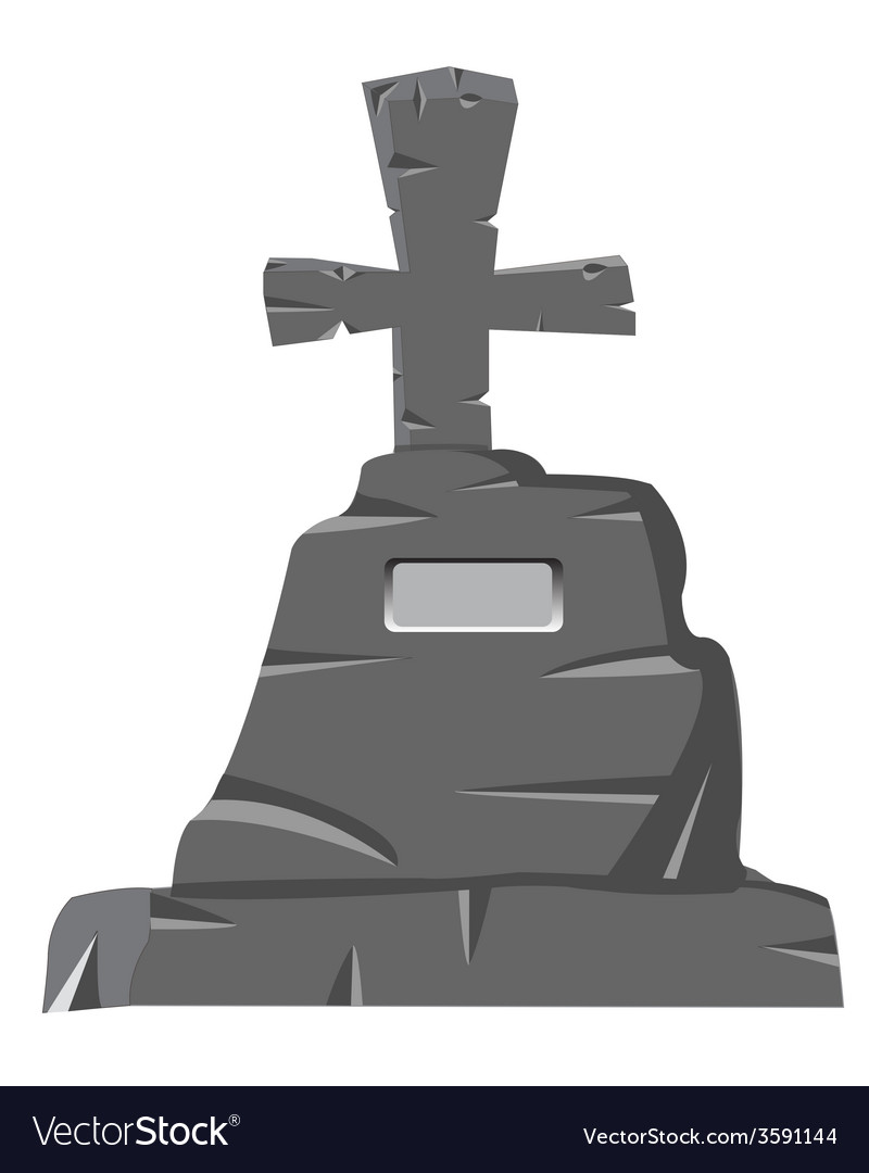 Tombstone with cross on white vector   Price: 1 Credit (USD $1)