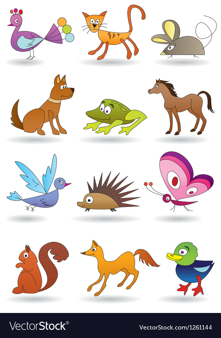 Toys with animals for kids icons set vector | Price: 3 Credit (USD $3)