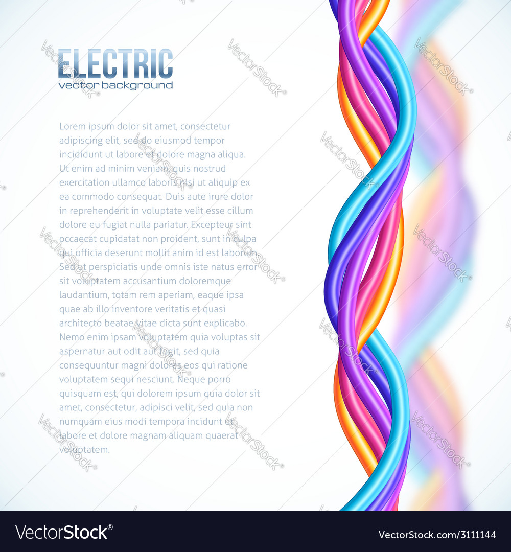 Vibrant colors plastic twisted cables background vector | Price: 1 Credit (USD $1)