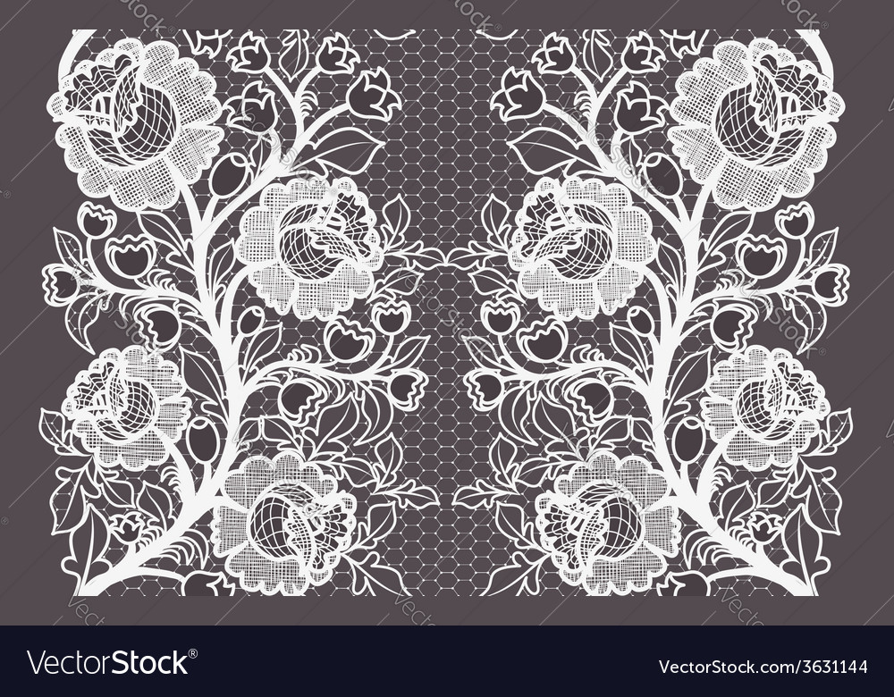 Wide seamless white lace ribbon with roses vector | Price: 1 Credit (USD $1)