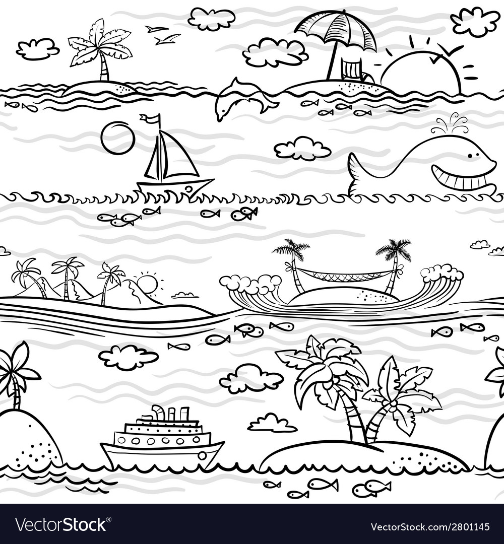 Beach seamless vector | Price: 1 Credit (USD $1)