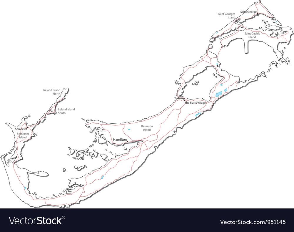 Bermuda black white map vector | Price: 1 Credit (USD $1)