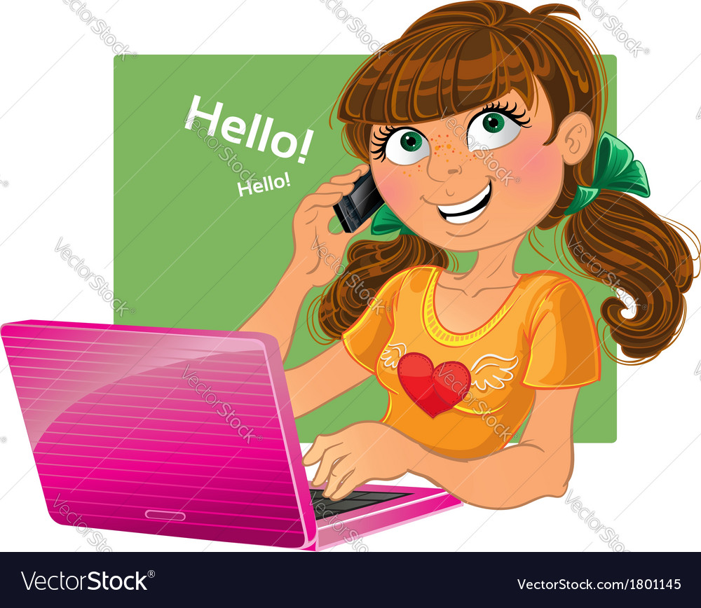 Brown-haired girl with phone and pink laptop vector | Price: 3 Credit (USD $3)