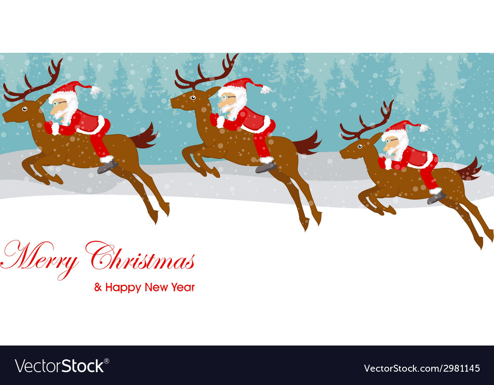 Christmas santa claus move gifts vector | Price: 1 Credit (USD $1)