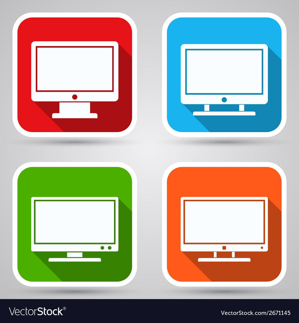 Computer monitor icons vector | Price: 1 Credit (USD $1)
