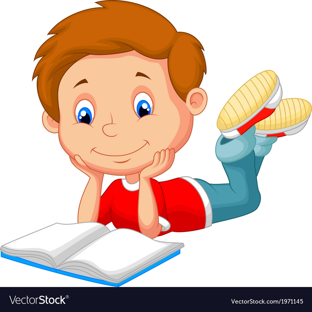 Cute boy cartoon reading book vector | Price: 1 Credit (USD $1)