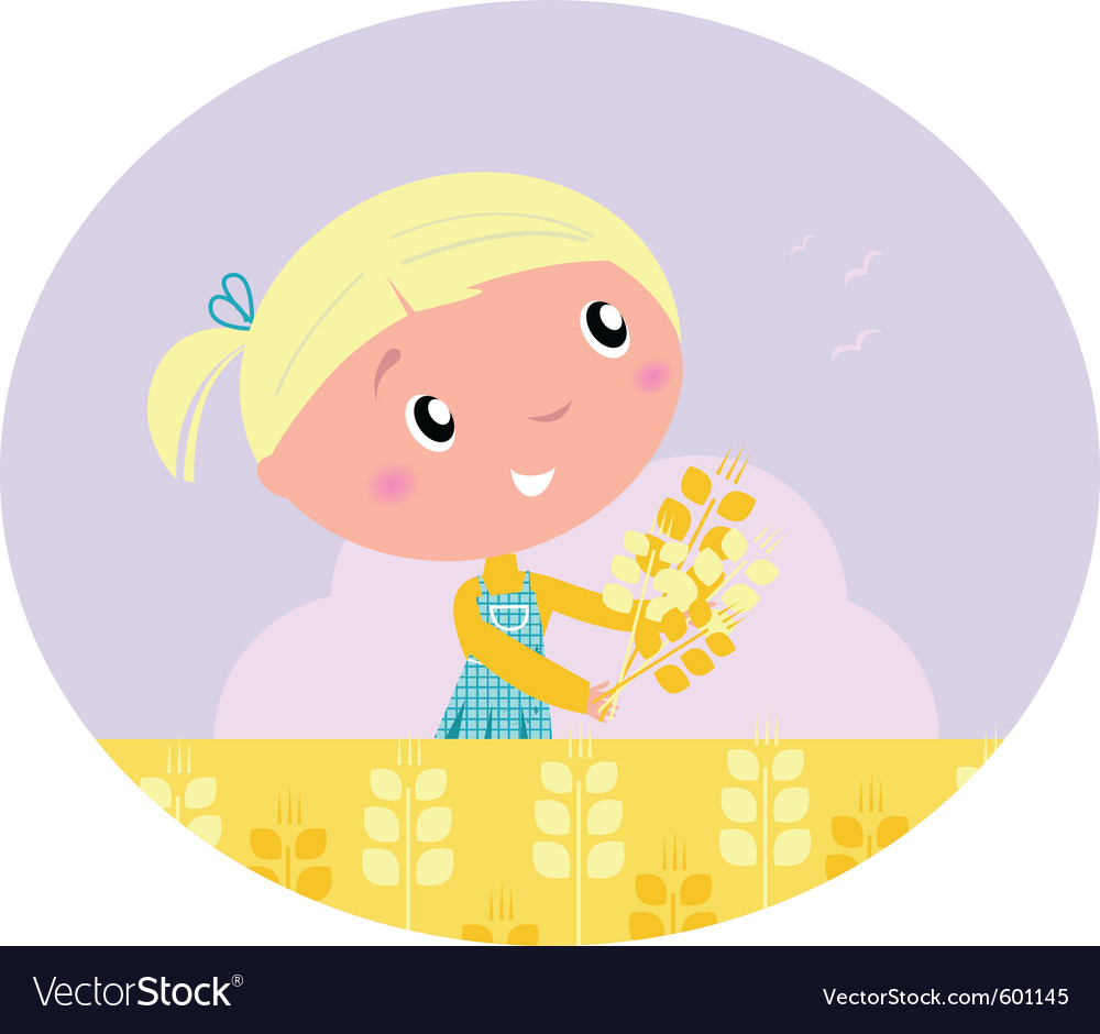 Girl harvested grain vector | Price: 1 Credit (USD $1)