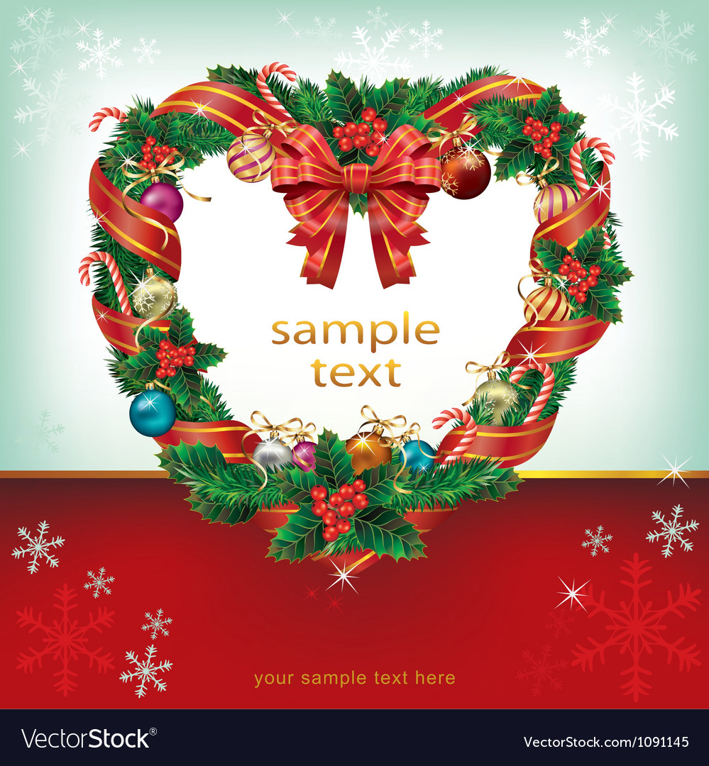 Heart shaped wreath christmas decoration card vector | Price: 1 Credit (USD $1)