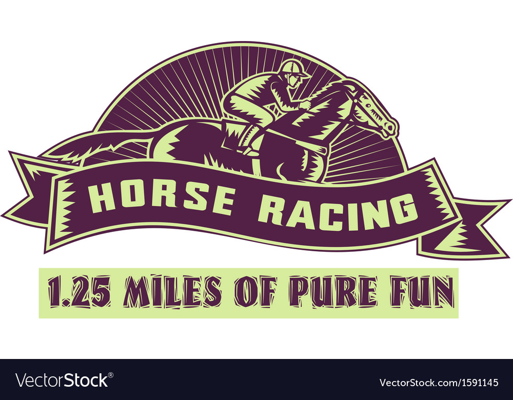 Horse and jockey racing race woodcut vector | Price: 1 Credit (USD $1)