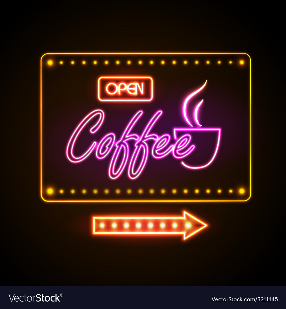 Neon sign coffee vector | Price: 1 Credit (USD $1)