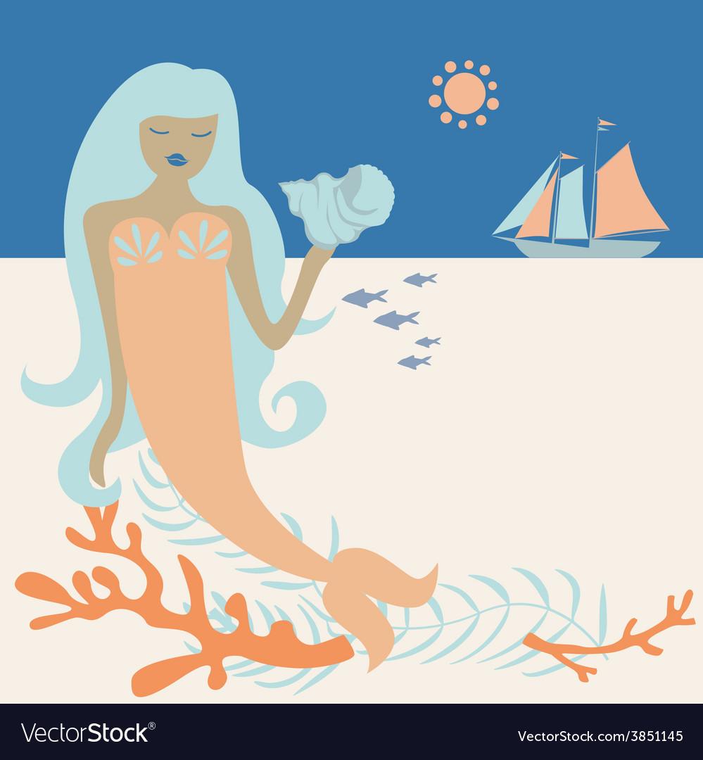 Ocean mermaid vector | Price: 1 Credit (USD $1)