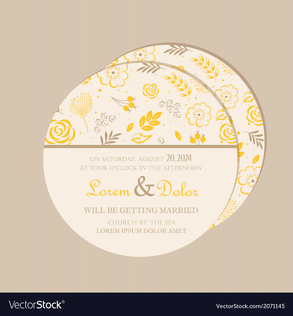 Round wedding invitation card yellow vector | Price: 1 Credit (USD $1)