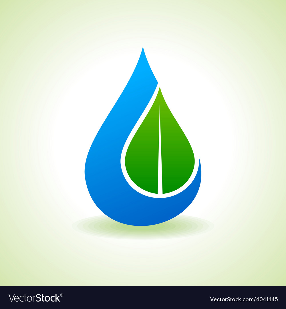 Save nature concept - leaf inside the waterdrop vector | Price: 1 Credit (USD $1)