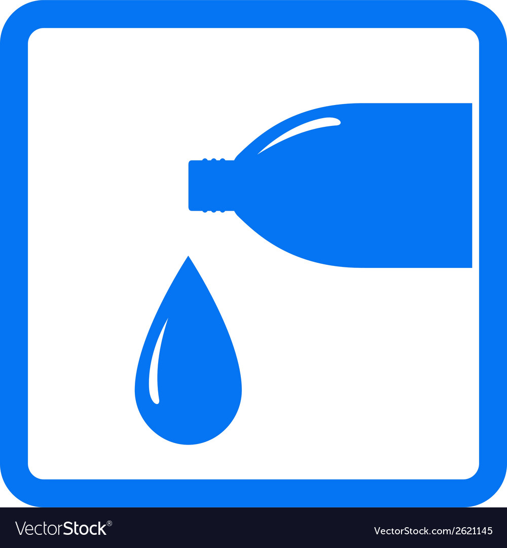 Sign with drop and water bottle vector | Price: 1 Credit (USD $1)